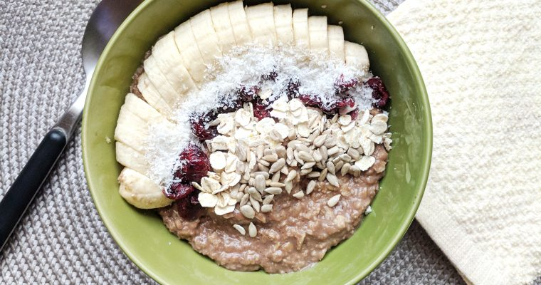Warming chocolate oatmeal breakfast bowl