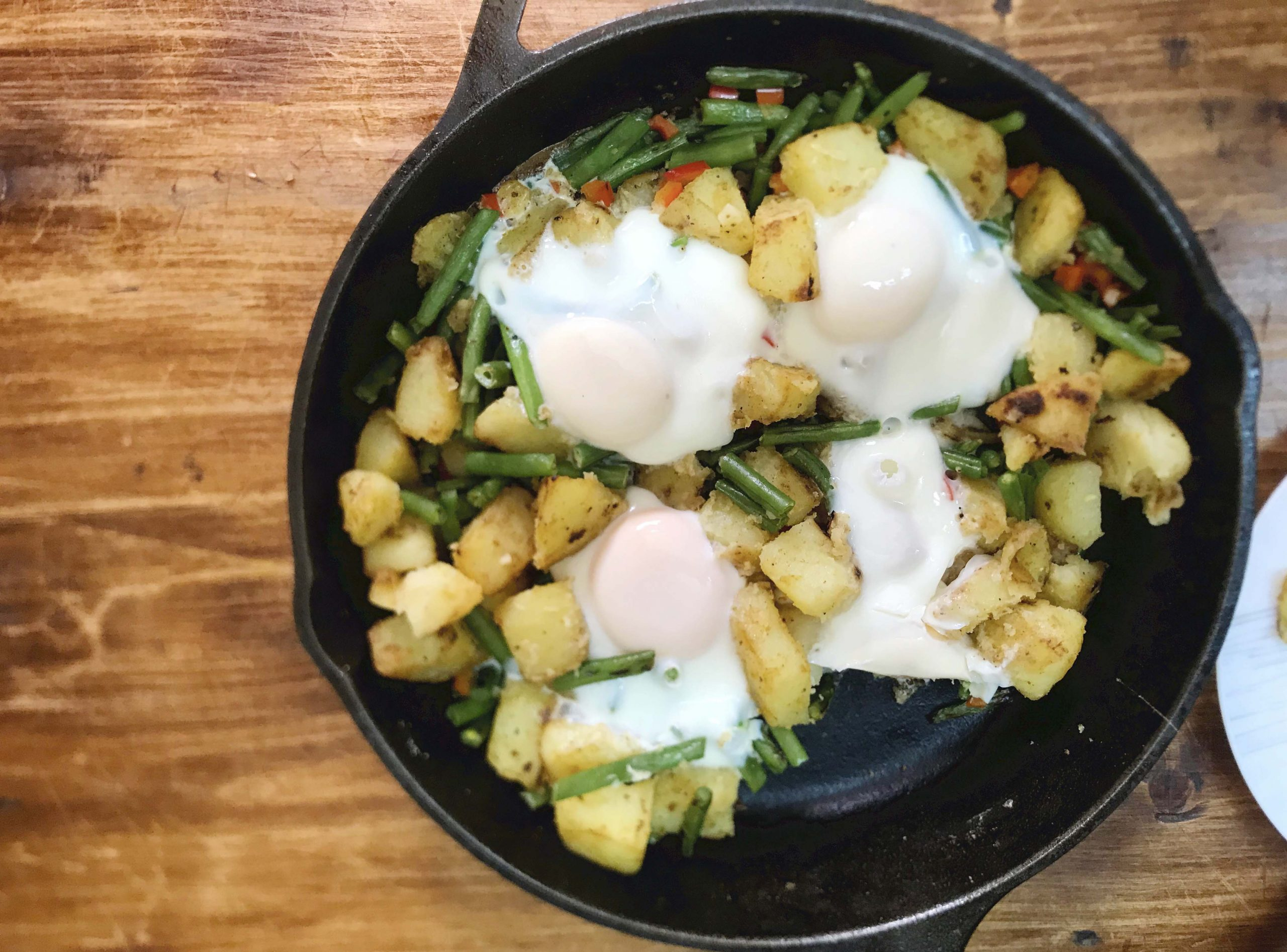 Crispy Potatoes Green Beans and Eggs